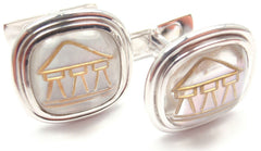 Authentic! Temple St Clair 18k Yellow Gold Crystal MOP Temple Cufflinks