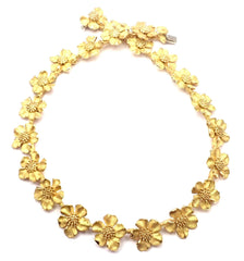 Authentic! Vintage Tiffany & Co Classics 18K Yellow Gold Dogwood Flower Necklace
