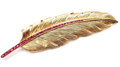 Rare! Vintage Authentic Raymond Yard 14k Yellow Gold Ruby Feather Pin Brooch