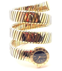 Authentic! Bulgari 18k Tri-Color Gold Tubogas Serpent Snake Bracelet Watch