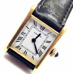 Authentic! Cartier Tank 18k Yellow Gold Manual Wind Deployment Ladies Mini Watch