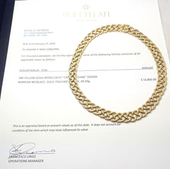Authentic! Buccellati Crepe De Chine 18k Yellow Gold Braided Link Necklace Paper
