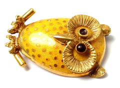 Vintage Estate 18k Yellow Gold Enamel Polka Dot Owl Pin Brooch Italy