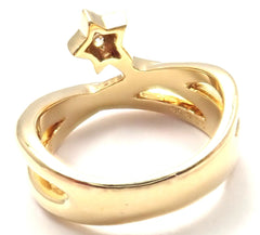 Authentic! Mikimoto 18k Yellow Gold Diamond Lucky Star Band Ring