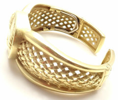 Authentic! Barry Kieselstein Cord 18K Yellow Gold Cameo Cuff Bangle Bracelet