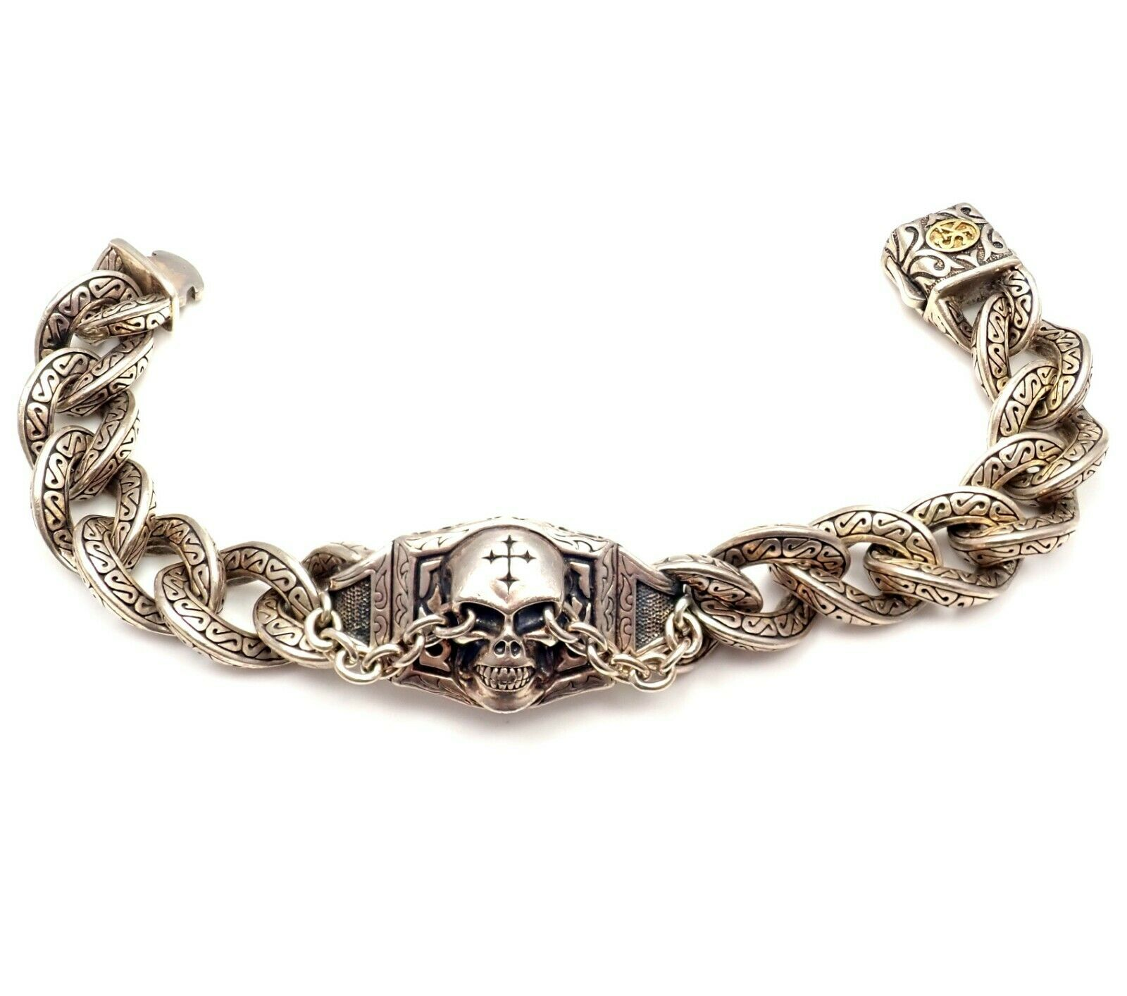 Scott Kay Sterling Silver 18k Unkaged Two Tone Skull Mens Bracelet 23mm 10""