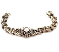 Scott Kay Sterling Silver 18k Unkaged Two Tone Skull Mens Bracelet 23mm 10