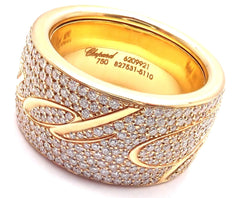 Chopard Chopardissimo 18k Yellow Gold Pave Diamond Signature Band Ring Box Paper