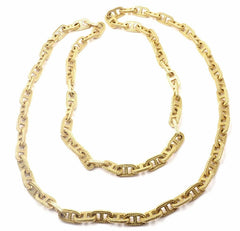 "Authentic Hermes George L'Enfant Chain d'Ancre 18k Yellow Gold 33"" Long Necklace"