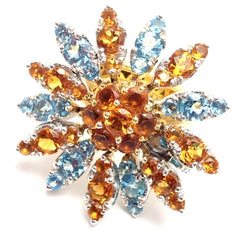 New! Authentic Pasquale Bruni Margherita 18k Yellow Gold Citrine Blue Topaz Ring