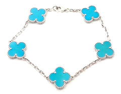 Authentic! Van Cleef & Arpels 18k White Gold 5 Motif Turquoise Alhambra Bracelet
