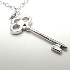 Authentic! Tiffany & Co 18K White Gold Diamond Crown Key Pendant Necklace