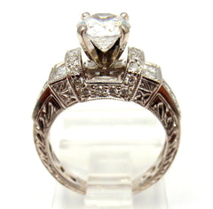 Vintage Estate 14k White Gold Diamond Mounting Ring sz 4