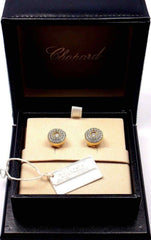 Authentic! Chopard Happy Diamond 18k Yellow Gold Earrings Certificate Box