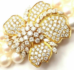 Mikimoto 18k Yellow Gold Diamond Flower 8mm 3 Strand Pearl 36