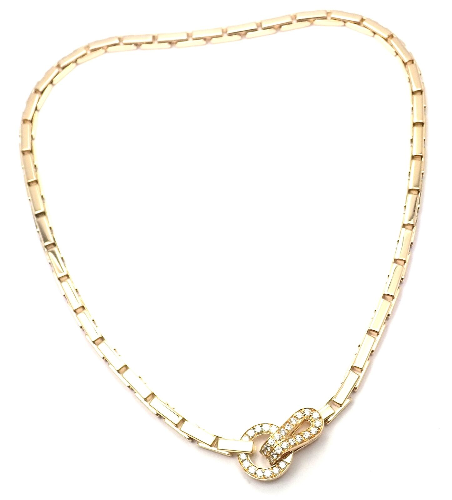 Authentic! Cartier Agrafe Diamond 18k Yellow Gold Link Necklace