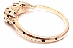 Authentic! Cartier Panther Panthere 18k Rose Gold Onyx Tsavorite Bangle Bracelet