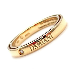 New! Authentic Damiani Brad Pitt 18k Yellow Gold 11 Diamond 3mm Band Ring Sz 7.5