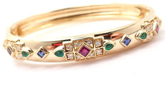 Authentic! Cartier Byzantine 18k Gold Diamond Ruby Sapphire & Emerald Bracelet