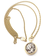 "Rare! Bvlgari Bulgari 18k Yellow Gold Ancient Coin 36"" Long Link Chain Necklace"