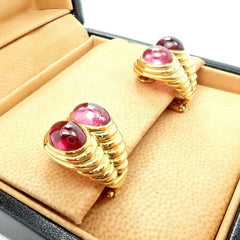 Bulgari Bvlgari 18k Yellow Gold Pink Tourmaline Sapphire Twin Earrings