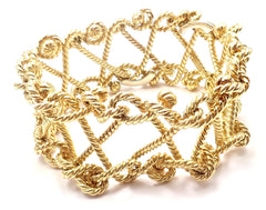 Rare! Authentic Verdura 18k Yellow Gold Twisted Rope Openwork Wide Link Bracelet