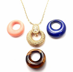 Van Cleef & Arpels 18k Gold Diamond Lapis Coral Tiger Eye 4 Pendant Necklace