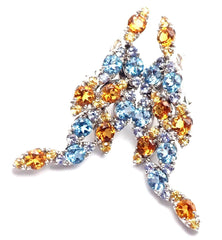 Authentic! Pasquale Bruni Ghirlanda 18k Gold Sapphire Topaz Citrine Earrings