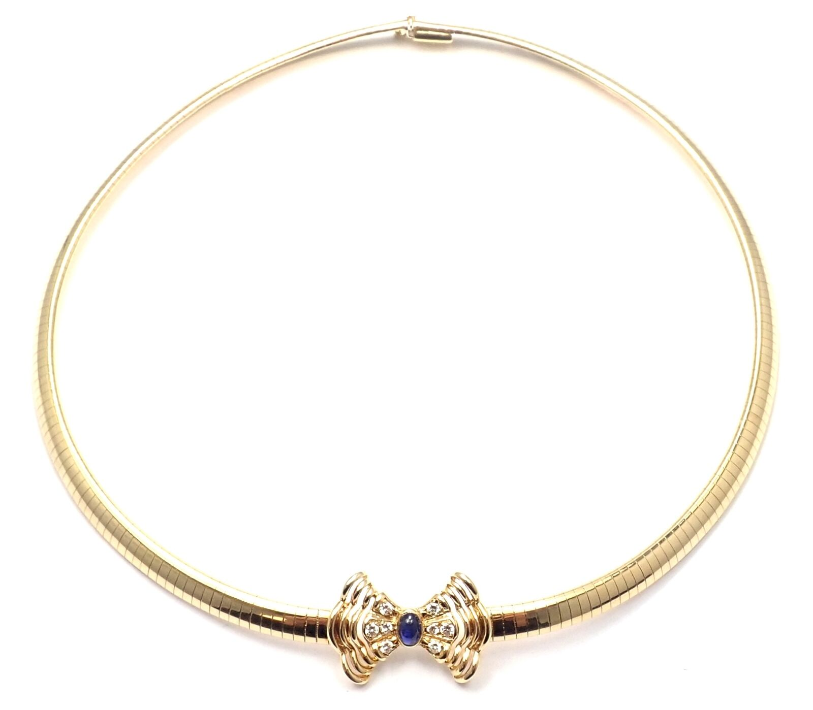 Rare! Authentic Christian Dior 18k Yellow Gold Diamond Sapphire Bow Necklace