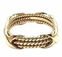 Authentic! Tiffany & Co Jean Schlumberger 18k Gold 3 Row Rope Band Ring