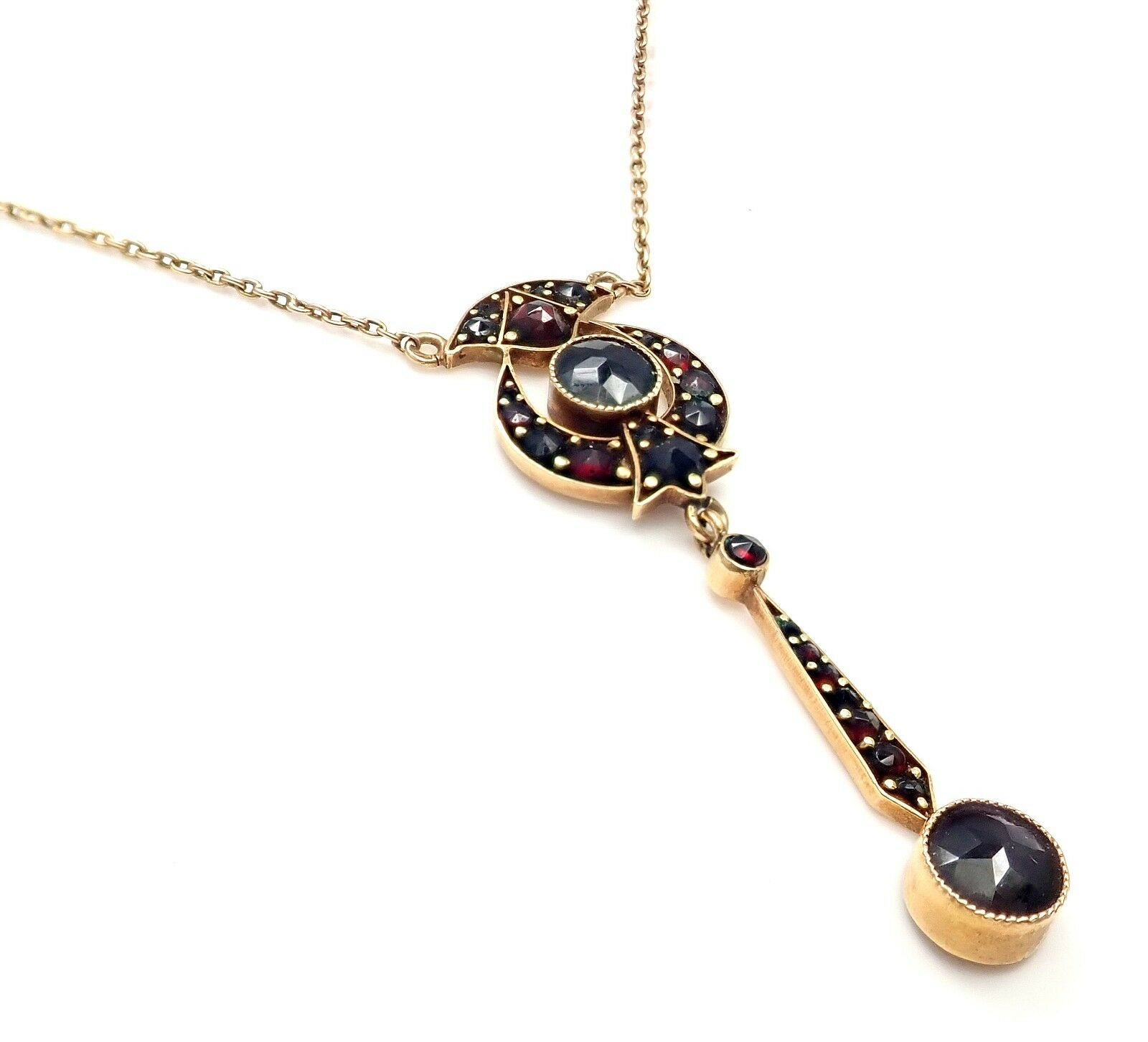 Vintage Estate 18k Rose Gold Garnet Pendant Necklace