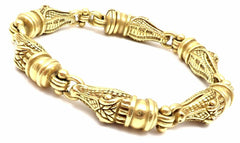 Authentic! Barry Kieselstein Cord 18k Yellow Gold Alligator Heads Link Bracelet