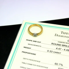 Authentic Tiffany & Co. 18k + Platinum 0.33ct Diamond I/VS1 Engagement Ring Cert