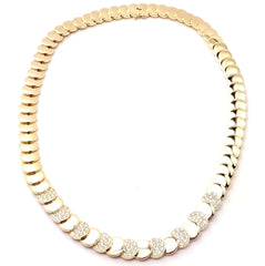 Rare! Vintage Authentic Van Cleef & Arpels 18k Yellow Gold Diamond Disc Necklace