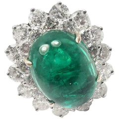 Authentic Craig Drake 18k White Gold Large 10.97ct Emerald Diamond Cocktail Ring