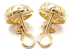 Authentic! Tiffany & Co Vannerie 18k Yellow Gold Basket Weave Earrings 1995