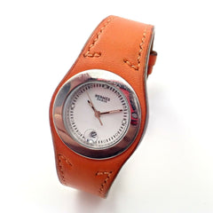 Hermes Arne Orange Leather Bracelet Date Ladies Watch HA3.210 w/Box