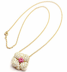 Authentic! Van Cleef & Arpels 18k Gold Diamond & Pink Sapphire Flower Necklace