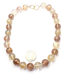 Authentic! Tiffany & Co Paloma Picasso 18k Yellow Gold Rutilated Quartz Necklace