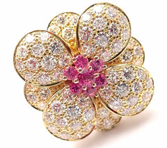 Authentic! Van Cleef & Arpels 18k Rose Gold Pink Sapphire Diamond Flower Ring
