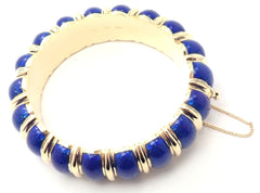 Rare! Authentic Vintage Cartier 18k Yellow Gold Bleu Enamel Wide Bangle Bracelet