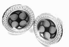Rare! Authentic Harry Winston Ocean 18k White Gold Diamond Cufflinks