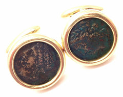 Authentic! Bulgari Bvlgari 18k Yellow Gold Ancient Coin Cufflinks