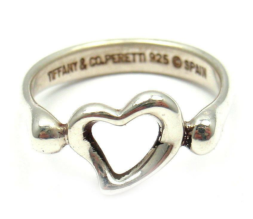 Tiffany & Co. Silver Elsa Peretti Open Heart Ring sz 5.5