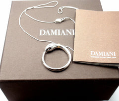New! Authentic Damiani Infinito 18k White Gold Diamond Snake Pendant Necklace