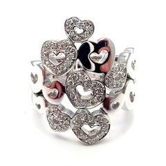 New! Authentic Pasquale Bruni 18k White Gold Diamond Heart Ring
