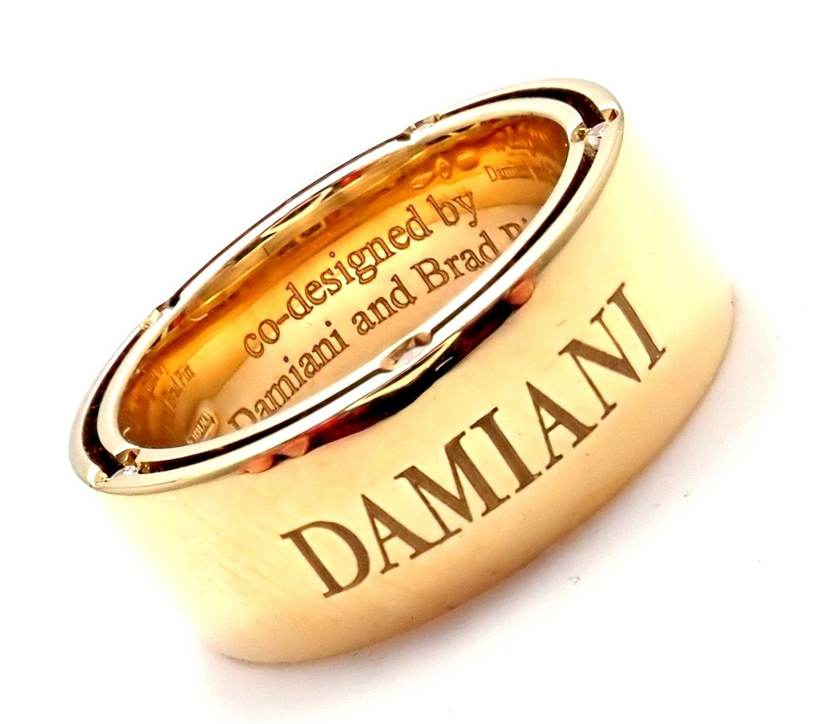 Authentic Damiani Brad Pitt 18k Yellow Gold 10 Diamond Wide Band Ring Sz 5.5