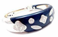 Authentic! La Nouvelle Bague 18k White Gold Diamond Enamel Bangle Bracelet