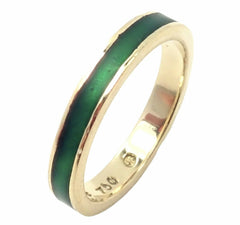 Authentic! Hidalgo 18k Yellow Gold Green Enamel Ring sz 5