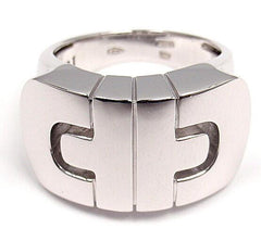 CLASSIC! AUTHENTIC! BVLGARI BULGARI 18K WHITE GOLD PARENTESI RING BAND SIZE 5